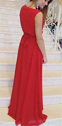 EMIN Damen Kleid Sommer Lang Festlich Elegant V-Ausschnitt Ohne Arm Chiffon Sexy Kleider Partykleid Rot
