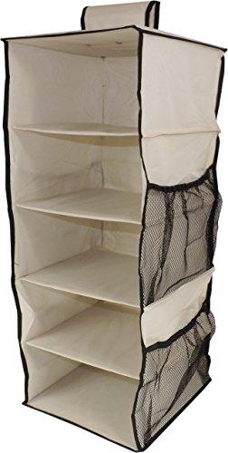 Neusu Starkes Hängeregal-Schranksystem, 5 Regale + 4 Taschen, 30x30x76cm, Beige