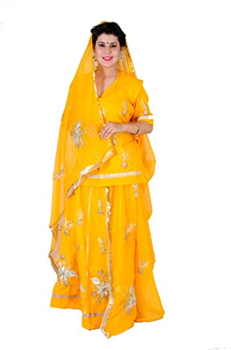 Anvika Creations Women's Georgette Rajputi Poshak(Anvika 1076_Yellow_Free Size)