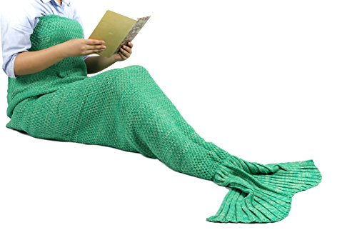 (Weihnachts Geschenk)Meerjungfrau Decke Schlafsack Handgemachte häkeln Meerjungfrau Schwanz Decke Flosse Gestrickte Kuscheldecke Mermaid Blanket Kostüm für Erwachsene Damen und Kinder 180cmX90cm(Grün)
