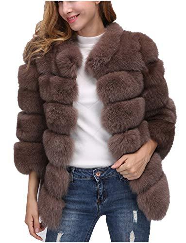 Delle donne faux fur lungo cappotto manica shaggy lungo chunky maglione del capo per l'inverno capodanno