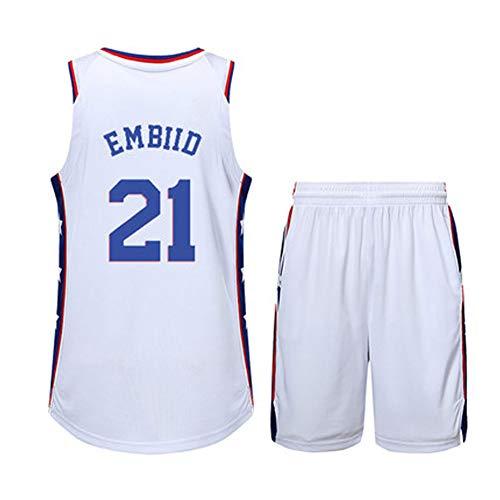 FRYP # 3# 21# 25 Herren Basketballbekleidung - Philadelphia 76ers, Allen Ezail Iverson Joel Embiid Ben Simmons, neues Swingman-Jersey aus Stoff (Größe: M-XXL) Answers-21White-XXXL -