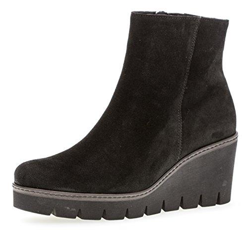 Gabor Damen Keilstiefeletten 93.780,Frauen Stiefel,Boots,Halbstiefel,Wedge-Bootie,Hoch,Blockabsatz 5cm,F Weite (Normal),Schwarz (Cognac),UK 7.5