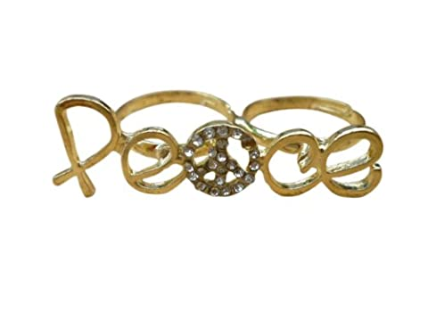Jewellery Chic Boutique Antique Gold Hippie PEACE Sign Boho Crystal Jewellery Double Finger Ring - Size Adjustable + Gift Bag
