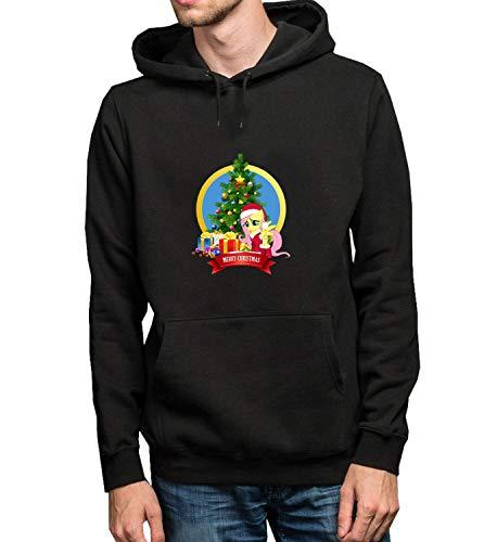 Pony Rocking Christmas Tree Time_R4083 Hoodie Kapuzenpullover Jumper Sweater Pullover Sweatshirt Unisex Black Gift- L Black Hoodie ()