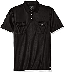 GUESS Mens Mason Military Polo Shirt, Jet Black A996, M R