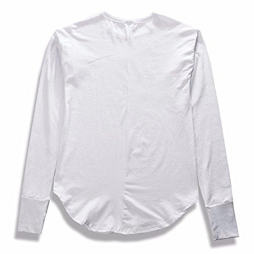 Qiyun.Z Herren Blusenbody Langarmshirt Weiß
