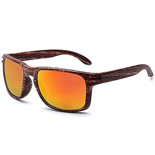SHEEN KELLY Damen Herren Mode Holz Print Sonnenbrille Sport Wie Bambus Aussehen Sonnenbrillen Spiegel Linse