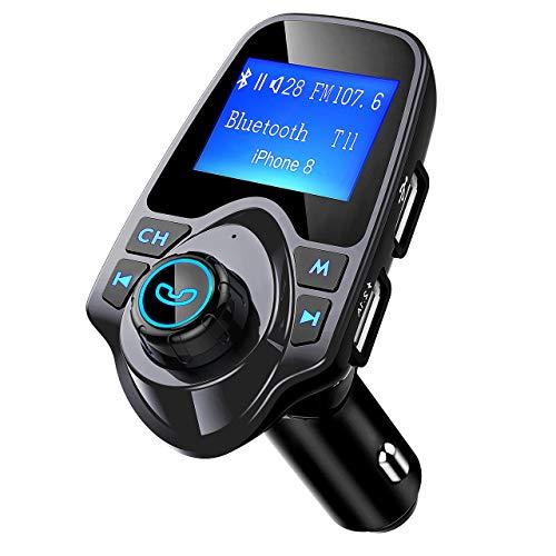 Mpow Transmetteur FM Bluetooth Kit Voiture Mains Libres sans Fil Adaptateur Radio Chargeur Allume Cigare Voiture Double Port USB Écran 1,44' Port d'Entrée ou de Sortie 3,5 mm Soutien Carte TF/Clé USB