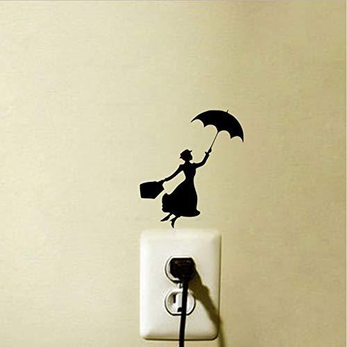 WFYY Vinyl Lichtschalter Aufkleber für Schlafzimmer von Mary Poppins