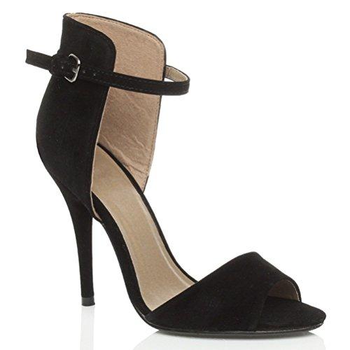 Damen Hohen Absatz Kontrast Zweifarbig Knöchelriemen-Sandalen Schuhe Größe Schwarzes Wildleder