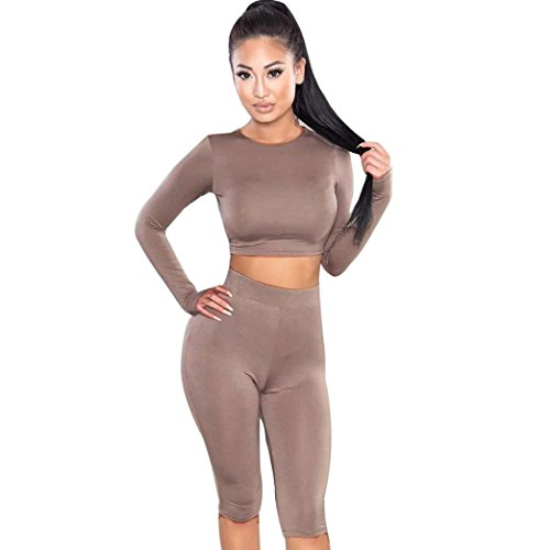 Bekleidung Longra Mode Sportanzug Crop Top Hosen zweiteilige Outfit Yoga Trainings-Kleidung (1pcs Tops und 1pcs Hose) (S, Khaki)