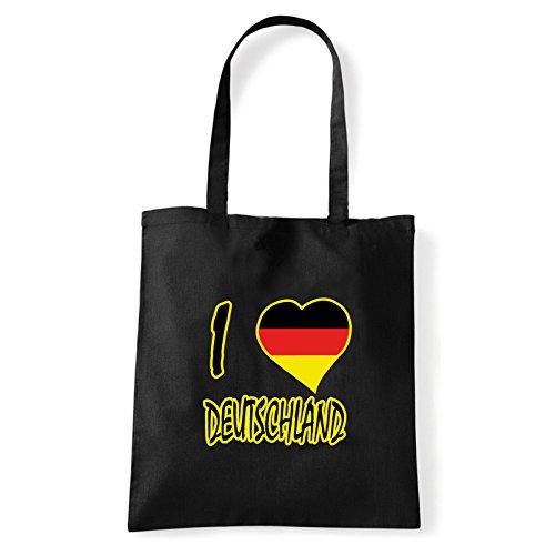 Art T-shirt, Borsa Shoulder I Love Deutschland, Shopper, Mare Nero