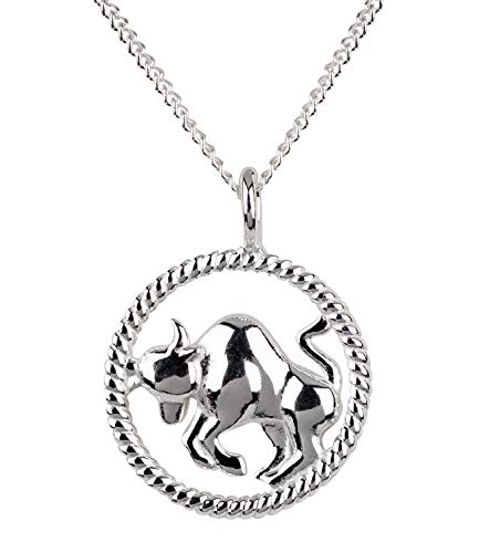 SIX Damen Halskette, Gliederkette, Sterling Silber, 925er Silber, Gliederkette, Horoskop, Sternzeichen, Stier, silber (386-271)