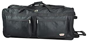 5 CITIES® Inch Wheeled Holdall Bag (40, Plain Black)