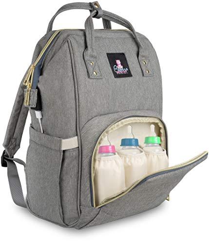 Piepers Babystuff Baby Wickelrucksack - Wickeltasche als Rucksack für unterwegs, mit viel Stauraum und Flaschentasche inklusive Isolationsschutz für die Babyflaschen