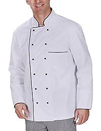 Moderno cocinero de un tejido de mezcla de algodón con Pearl de acabado de equipo con ribete de contraste en blanco y negro en diferentes tamaños