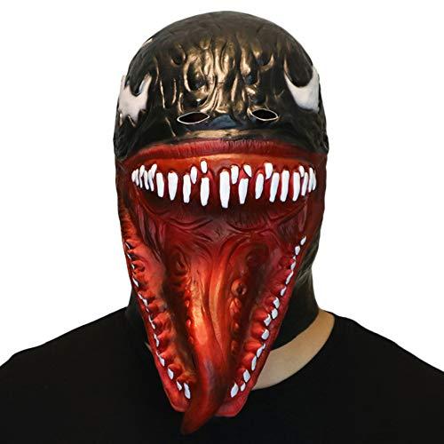 (QQWE Venom Spider-Man Cosplay Maske Venom Latex Kopfbedeckung Lange Zunge Maske Cosplay Halloween Weihnachten Film Spider Man Kostüm Requisiten,Black-OneSize)