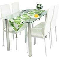 Dining Table And Chairs,Tempered Glass Dining Table And 4 Faux Leather  Padded Chairs White