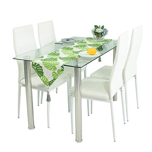 Joolihome Modern Glass Dining Table and Chair Set with 4 Faux Leather Foam Ribbed High Back Dining Chairs with Chromed Legs,Contemporary Rectangle Dining Room Furniture Set of 4 (White)