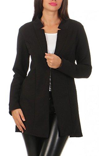 Damen lang Blazer mit Taschen ( 573 ), Farbe:Schwarz, Blazer 1:38 / M