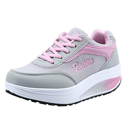 iHENGH Scarpa da Ginnastica Pigre Running Sport Ragazza Scarpe Fitness Moda Casual Shoes Women Lace-Up Breathable Sneakers Donna Estate Scarpe Respirante Stampa per Donna Primavera Bianco