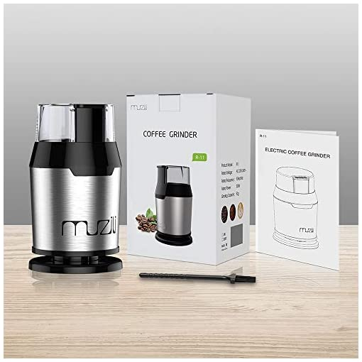 Muzili Coffee Grinder, Electric Coffee Grinder for Coffee Beans Nuts and Grains Grinder with 304 Stainless Steel Blades 22000rpm Powerful Motor, 60dB Low Noise, 50ml Capacity, Free Cleaning Brush