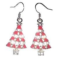 Sterling Silver Christmas Tree Earrings Red, Gold & Rhinestones by Juicy Jewellery UK seller