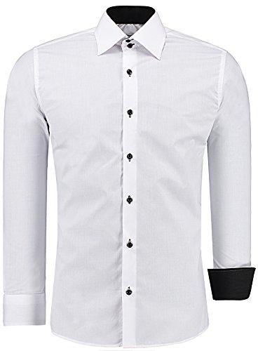 J'S FASHION Herren-Hemd – Slim Fit – Bügelleicht – Langarm-Hemd für Business Freizeit Hochzeit – Weiß - K - XL (Baumwolle Smoking)
