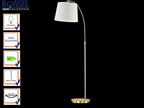 Höheneinstellbare Stehlampe LUND mit LED, Messing, Schirm champagner, neigbar, Honsel Leuchten