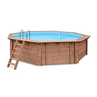 Schwimmbecken BLUE HAWAII Gartenpool Auf- und Erdeinbau, Holz, Oktogonales Schwimmbad, 5,60 x 5,17 x 1,29 m, Pumpe, Poolleiter, Skimmer