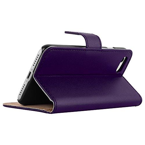 HANDYPELLE® Tasche für Apple iPhone 7 Plus und 8 Plus (5,5 Zoll / 14 cm) im Bookstyle in Grün Lila