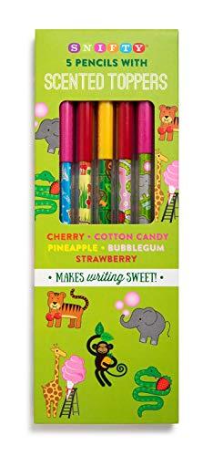 Bleistiftaufsatz mit Zoo-Motiven (5 Stück), Kirsche, Ananas, Baumwolle, Süßigkeiten, Erdbeere,...