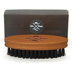 Mr. Dan by TROP Bartbürste mit reinen Wildschweinborsten, Griff aus Shima Superba Holz - mit 2 Jahre Geld-zurück-Garantie - für einen schönen & gepflegten Bart