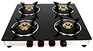 Suryajwala GT04 CAST Iron Stainless Steel 4 Burner Black Manual Gas Stove