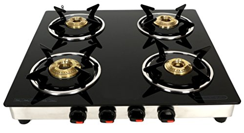 Suryajwala Gt04 Cast Iron Stainless Steel Lpg Compatible 4 Burner Manual Gas Stove, Black