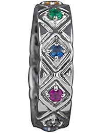 Fourseven 925 Sterling Silver Silver Navratna Gemstone Band Ring for Women, Size - 14