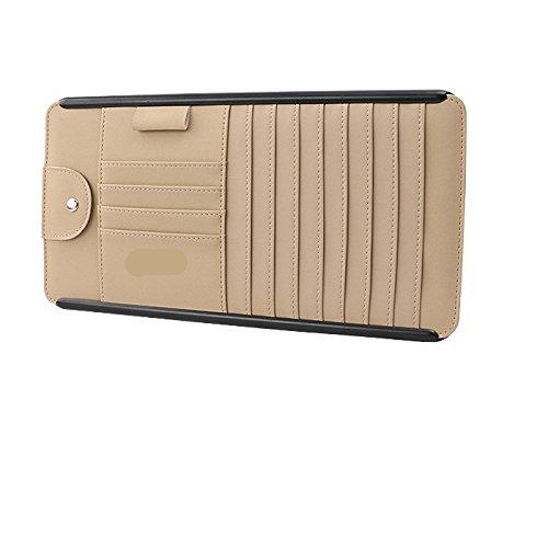 Multifunktions-Karten-Kartenhalter, Auto-CD-Aufbewahrungsbox, Auto-CD-Disc-Paket, Brille Clip, Stift-Speicher-Slot, Größe 315 * 165Mm,Beige