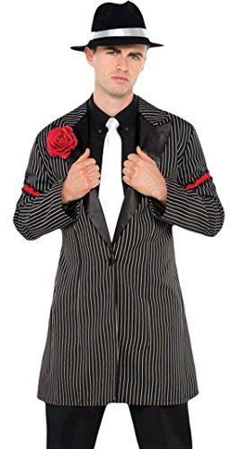 erdbeerloft - Herren 20er Jahre Nadelstreifen Gangster Jacket Kostüm Karneval , Schwarz, (Weste Kostüm Nadelstreifen)