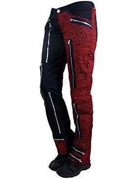 Nix Gut Leo, Pantalones de Mujer en Estilo Recto, Color Negro/Rojo