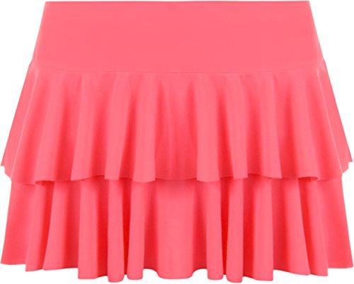Rosa Rüschen Skort Rock (WearAll - Damen Rara Mini Rock Kurz Skirt - Fluoreszierend Rosa - 40-42)