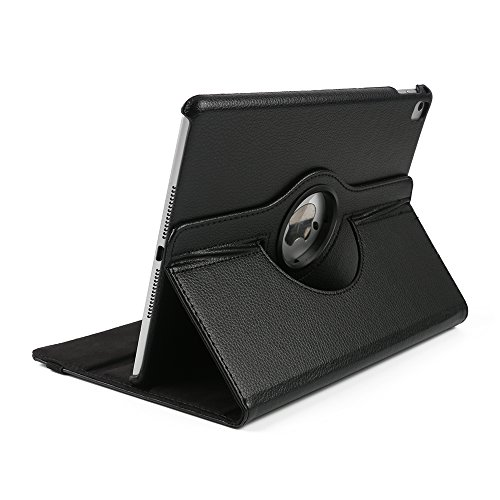 New iPad 2017 PU case,TechCode 360 Rotating Magnetic PU Leather with Smart Auto Sleep/Wake Feature Case Cover for New iPad 2017 9.7 inch (2017 New iPad, Black) Test