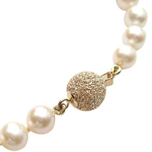 Collier classique en perles de culture d'eau douce Blanches de 6-7mm avec joli fermoir rond en or jaune 14 carat brillantcarte cadeau.