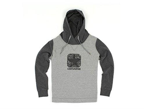 Converse, Donna, Fleece Sweater Logo Lady Contrast Color Hood, Cotone, Felpe, Grigio, S EU