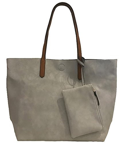 Borsa Donna Con Pochette Tote Shopper Materiale Liscio 50x35x15 cm Argento