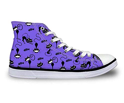 i Tops Plimsolls Women Girls Canvas Sneakers Flat Designs Halloween Purple+Multi cat UK 4 ()