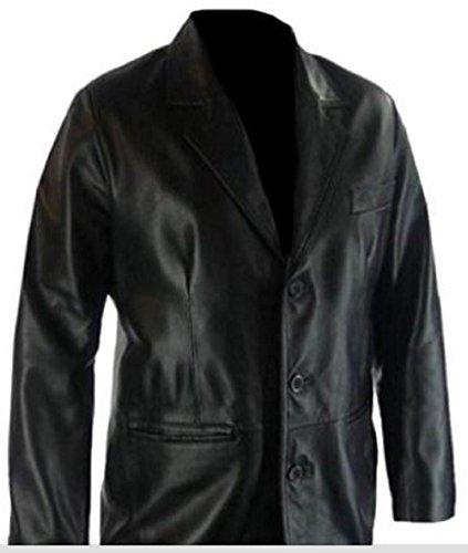Celebrita X Men's Leather Smart Black Coat vache Noir