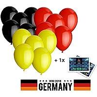 Luftballons 30 cm Luftballon Ballons Deutschland schwarz rot gelb je 4 Stück Fanartikel zur Party Deko Dekoration Fußballweltmeisterschaft WM 2018 mit 1x Spielplan / Übersicht Stadien DIN A3