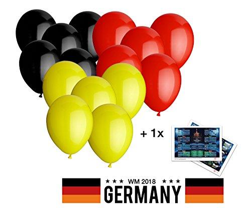 Globos 30cm Globos Alemania Negro Rojo Amarillo por 4pieza Fan Artículo para decoración decoración Campeonato Mundial de Fútbol WM 2018con 1x parte Plan/Resumen estadios DIN A3