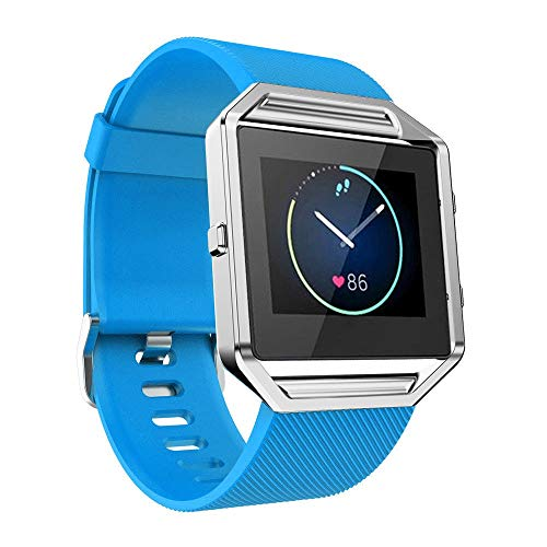 WAOTIER für Fitbit Blaze Armband Silikon Armband Metall Verschluss Atmungsaktive Ersatzband für Fitbit Blaze Smart Watch Armband mit Twill Muster Wasserdichter Armband für Frauen Männer (Himmelblau)